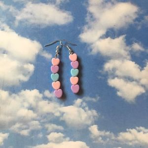 bi pastel heart drop earrings
